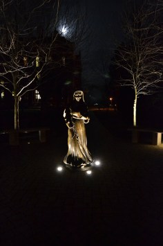 Some of the beauty to experience by spending a weekend retreat at Saint Mary-of-the-Woods. The statue of Saint Mother Theodore Guerin lit at night.